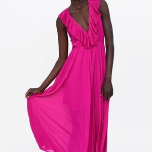 ZARA MAGENTA PLEATED MAXI DRESS